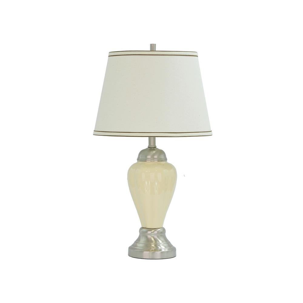 Aspen Creative Corporation 26 in. Beige Ceramic Table Lamp with Hardback Empire Shaped Lamp Shade in Off White
