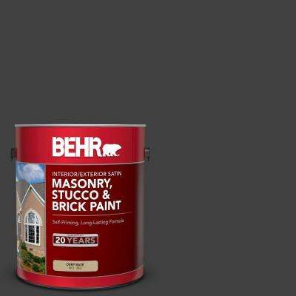 1 gal. #1350 Ultra Pure Black Satin Interior/Exterior Masonry, Stucco and Brick Paint