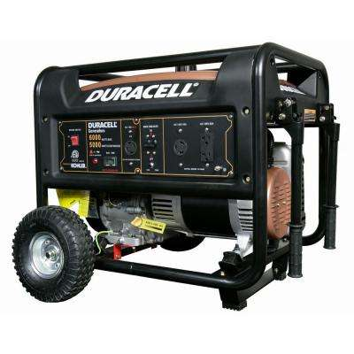 6000-Watt Gasoline Powered Recoil Start Portable Generator with Kohler Engine