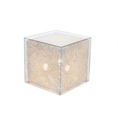 20 in. Silver Cube Stand Floor Lamp with Clear Acrylic Cover-Pictured with Warm White Bulbs