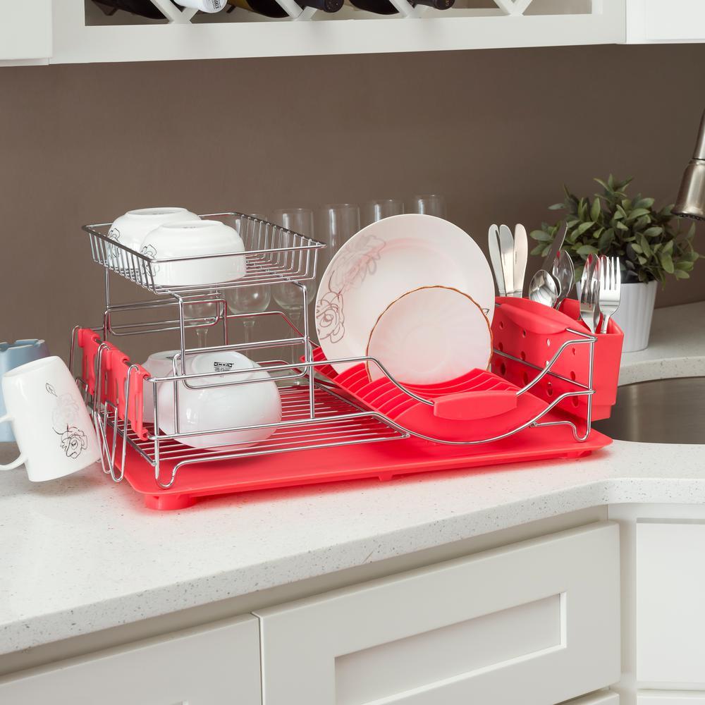 Deluxe 2-Tier Red Standing Dish Rack