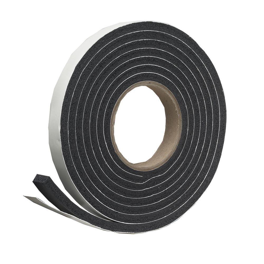 1-1/4 in. x 7/16 in. x 10 ft. Black High-Density Rubber Foam Weatherstrip Tape