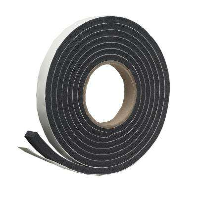 E/O 1-1/4 in. x 7/16 in. x 10 ft. Black High-Density Rubber Foam Weatherstrip Tape