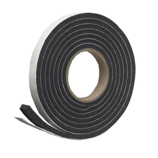 1-1/4 in. x 7/16 in. x 10 ft. Black High-Density Rubber Foam Weatherstrip Tape