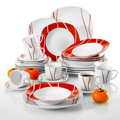 FELISA 30-Piece Porcelain White with Red Edge Dinnerware Set Plates Mugs and Saucers (Service for 6)