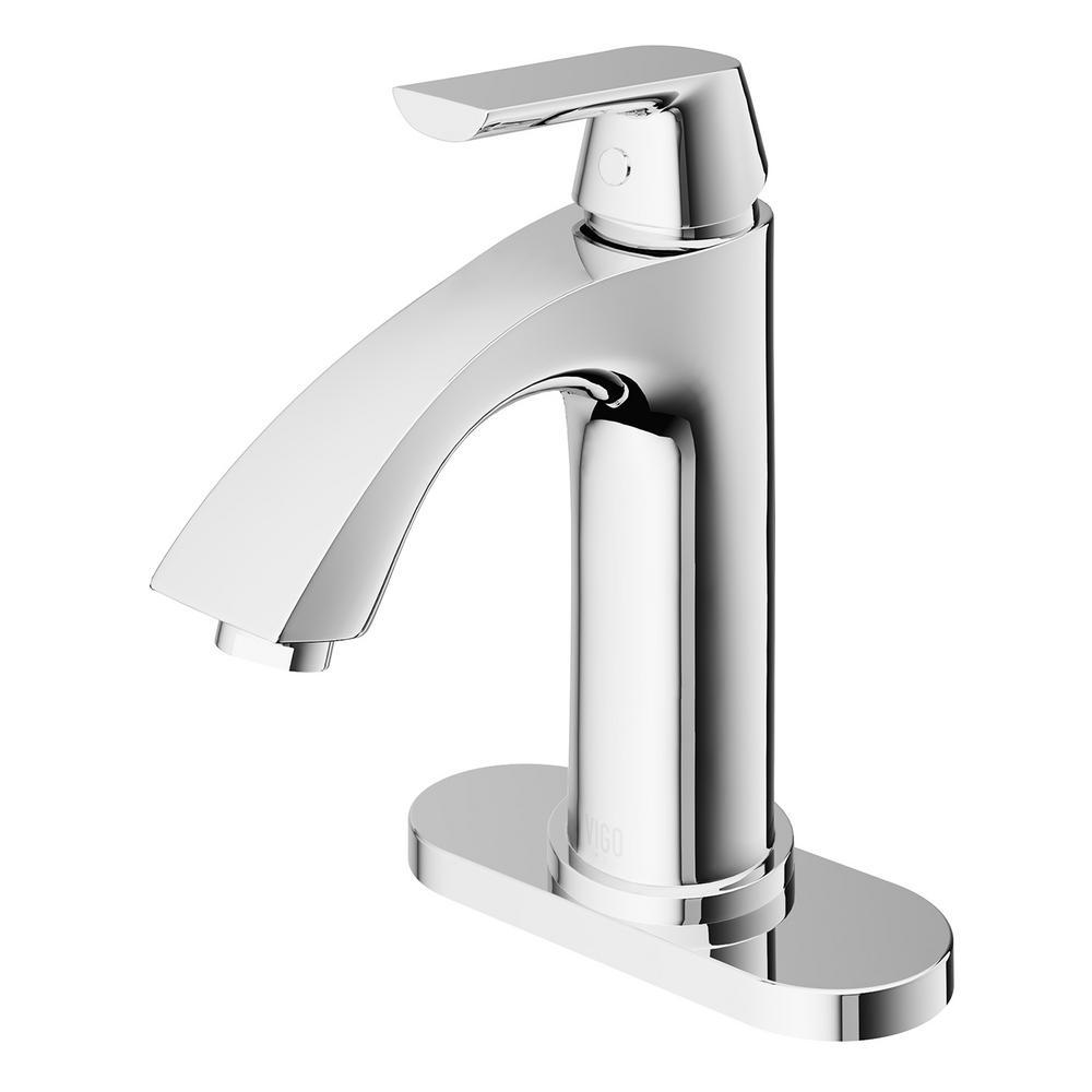 Penela Single Hole Single Handle Bathroom Faucet with Deck Plate in Chrome