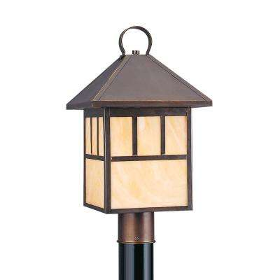 Led post lighting outdoor lighting the home depot prairie statement 1 light outdoor antique bronze post light with led bulb sciox Images