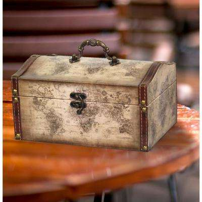 9 in. x 6 in. x 4.8 in. Faux Leather Old World Map Vintage Style Treasure Box