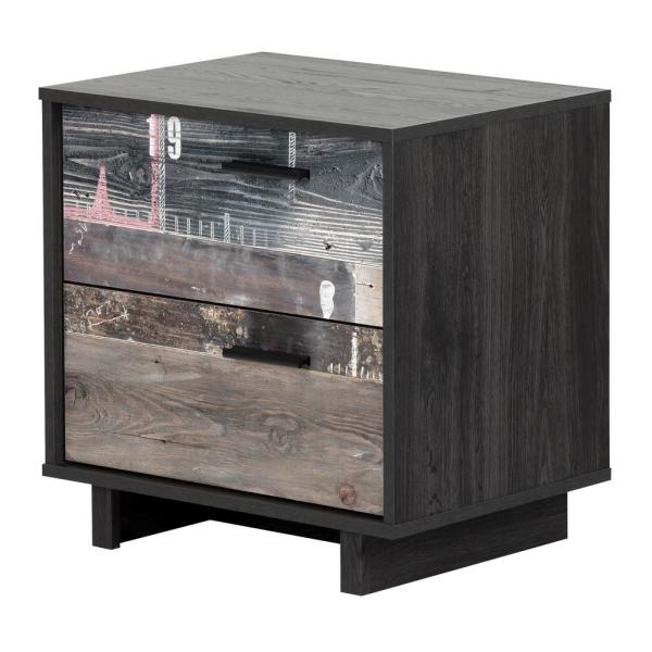 South Shore Fynn Gray Oak and Factory Planks Effect Nightstand 11754