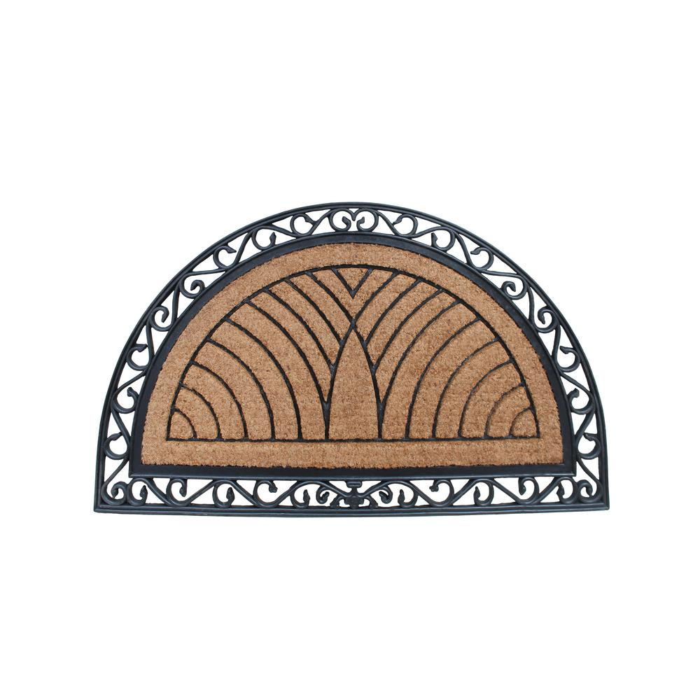 A1 Home Collections A1HC Half Round Classic Black 30 in. x 48 in. Rubber and Coir Standard Double Door Mat