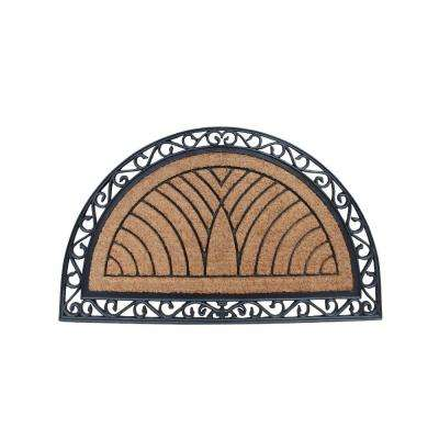 A1HC Half Round Classic Black 30 in. x 48 in. Rubber and Coir Standard Double Door Mat