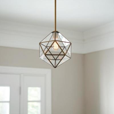 1-Light Old Satin Brass Mini Pendant with Clear Glass, Vintage Bulb Included