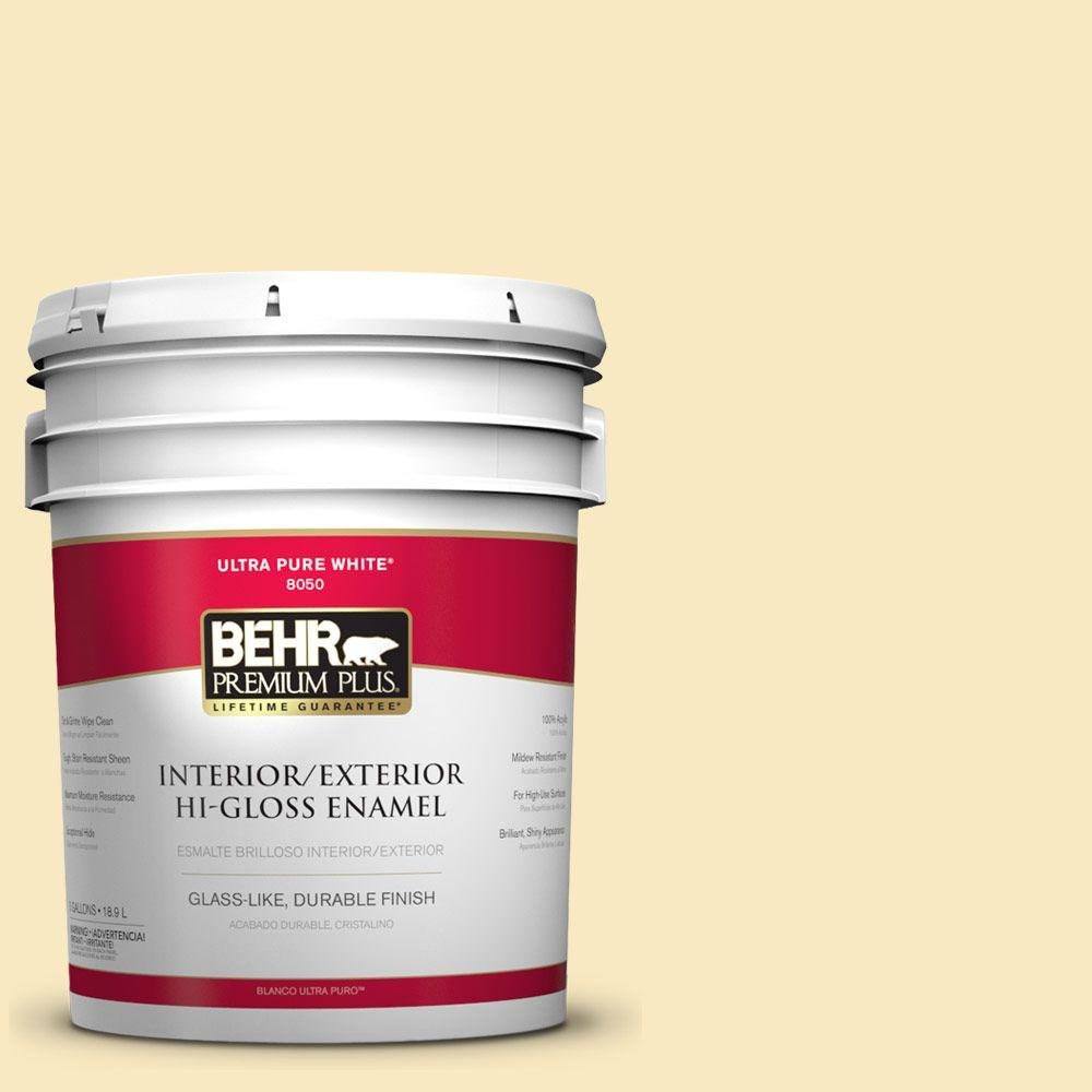 BEHR Premium Plus 5-gal. #340A-2 Rich Cream Hi-Gloss Enamel Interior/Exterior Paint