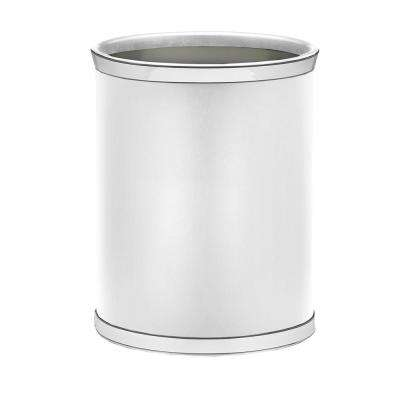 Sophisticates 13 Qt. White and Polished Chrome Oval Waste Basket
