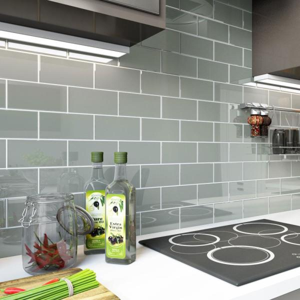 True Gray 3 in. x 6 in. x 8 mm Glass Subway Tile (5 sq. ft./case)
