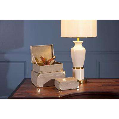 Beth Kushnick Faux Leather Decorative Box with Lid (Set of 3)