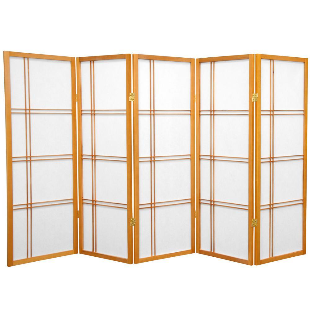 4 ft. Honey 5-Panel Room Divider