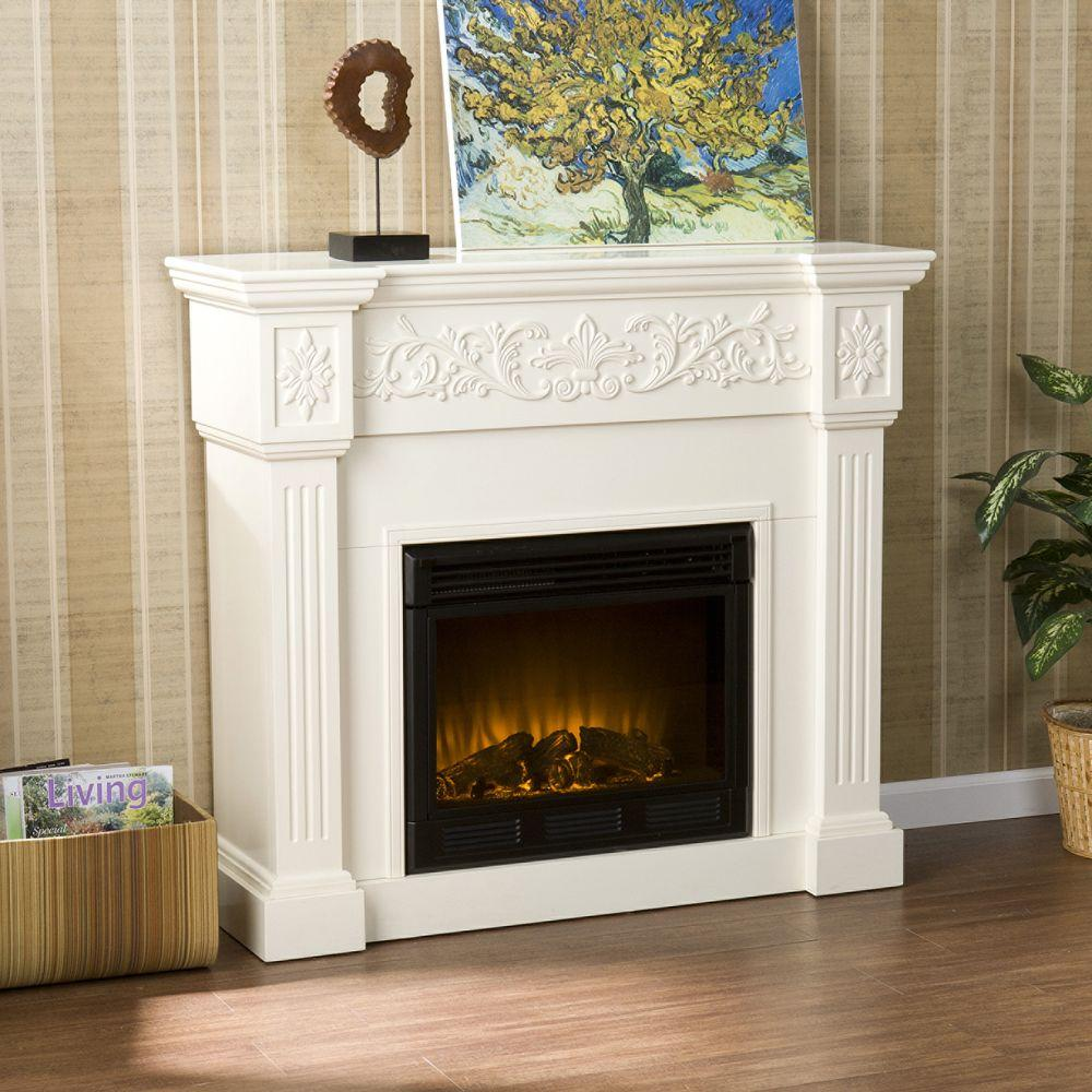 Dunkirk 44.5 in. W Carved Electric Fireplace in Ivory