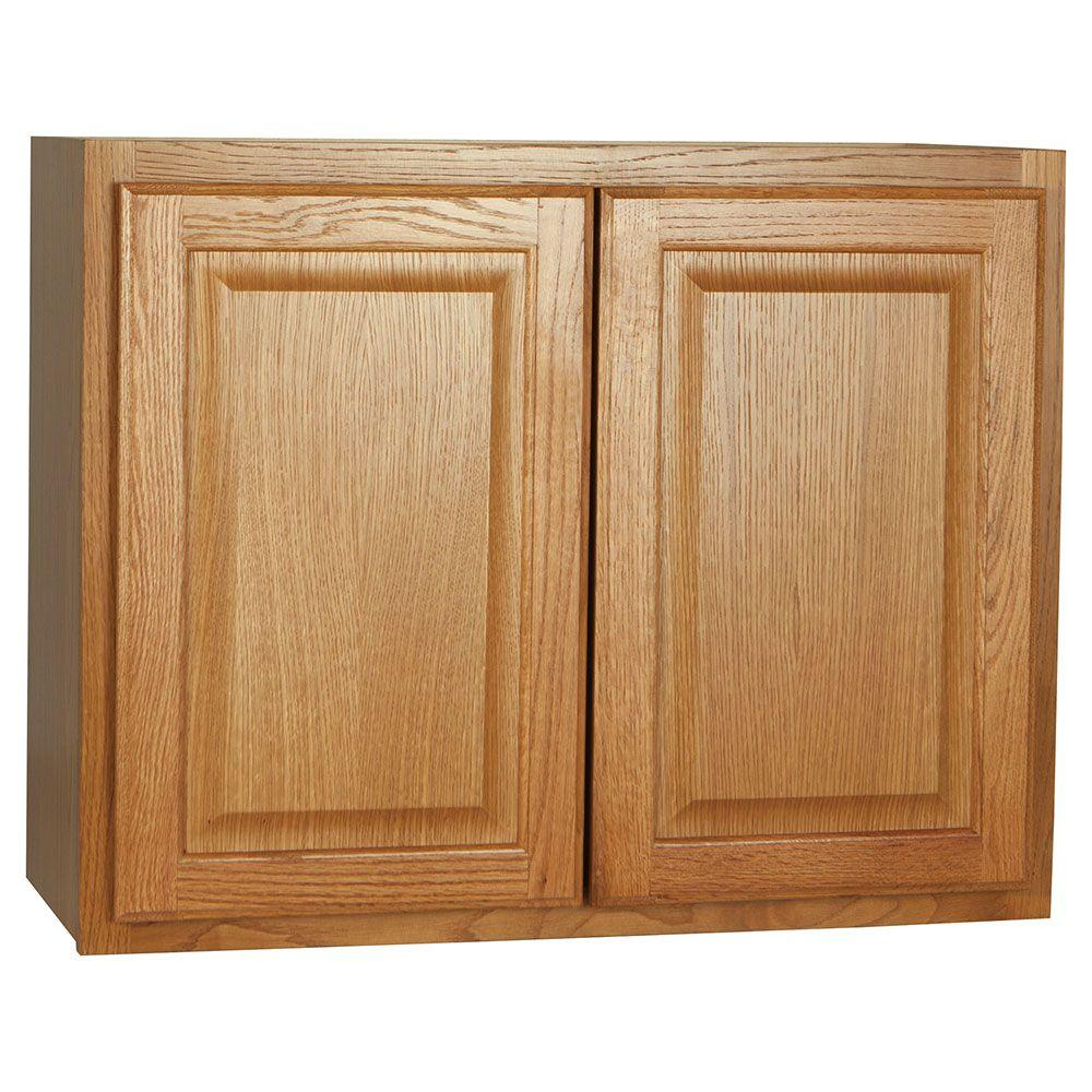 Hampton Assembled 30x23.5x12 in. Wall Bridge Kitchen Cabinet in Medium Oak