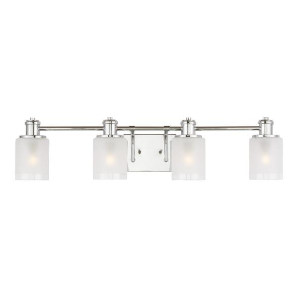 Norwood 33.875 in. 4-Light Chrome Vanity Light with Clear Highlighted Satin Etched Glass Shades