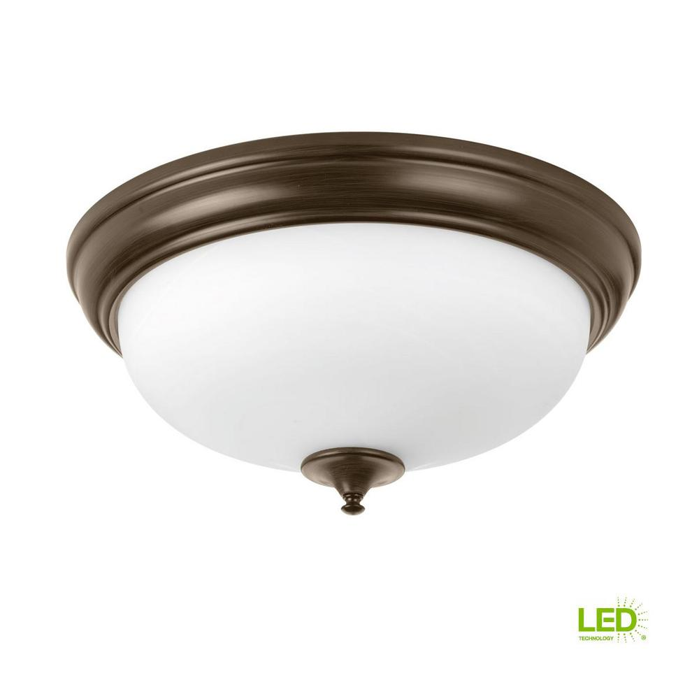 Alabaster collection 30 watt antique bronze integrated led flush mount
