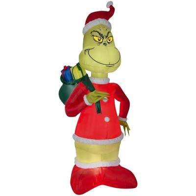holiday 8 ft h x 423 ft w inflatable grinch in santa suit with - Inflatable Outdoor Christmas Decorations