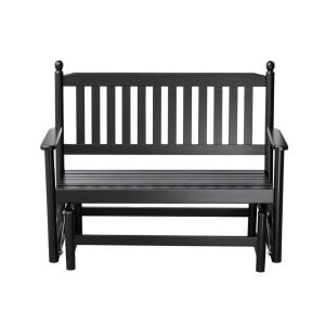 2-Person Black Wood Outdoor Patio Glider by
