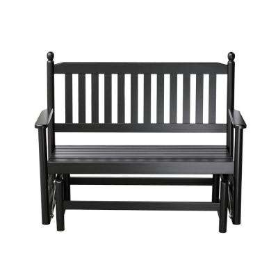 2-Person Black Wood Outdoor Patio Glider