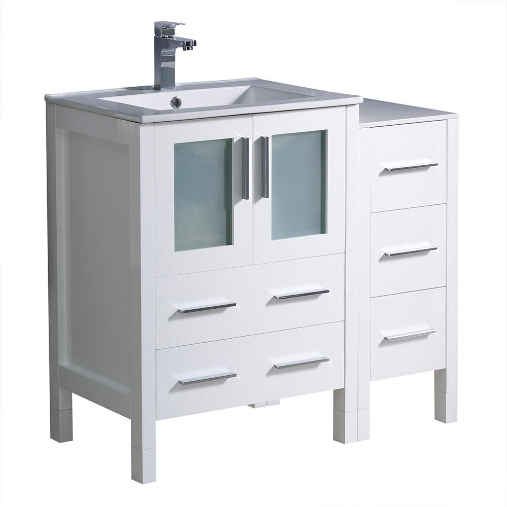 Fresca Torino 36 in. Bath Vanity in White with Ceramic Vanity Top in White with White Basin and 1 Side Cabinet