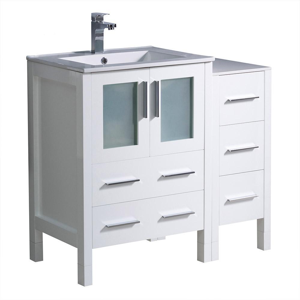 Torino 36 in. Bath Vanity in White with Ceramic Vanity Top in White with White Basin and 1 Side Cabinet