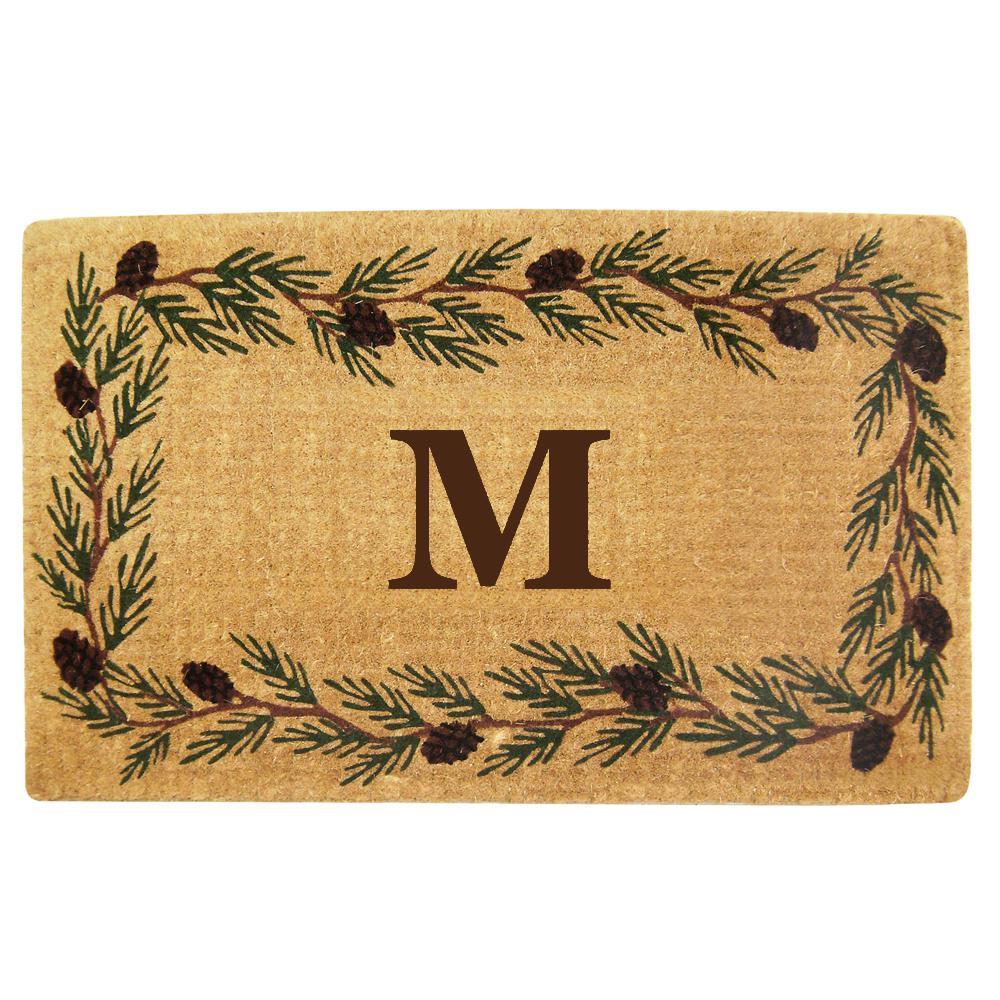 Evergreen 30 in. x 48 in. Heavy Duty Coir Monogrammed M Door Mat