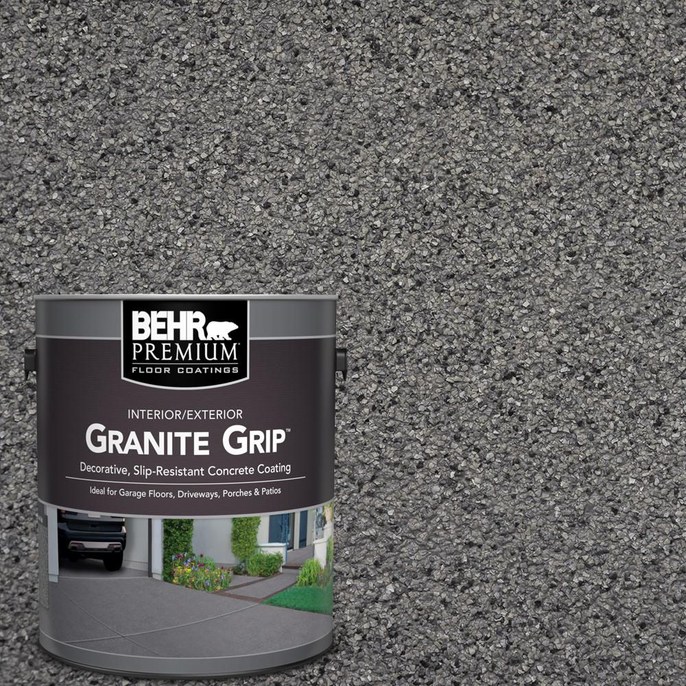 BEHRPREMIUM BEHR Premium 1 gal. Gray Granite Grip Decorative Flat Interior/Exterior Concrete Floor Coating, Grays/Flat