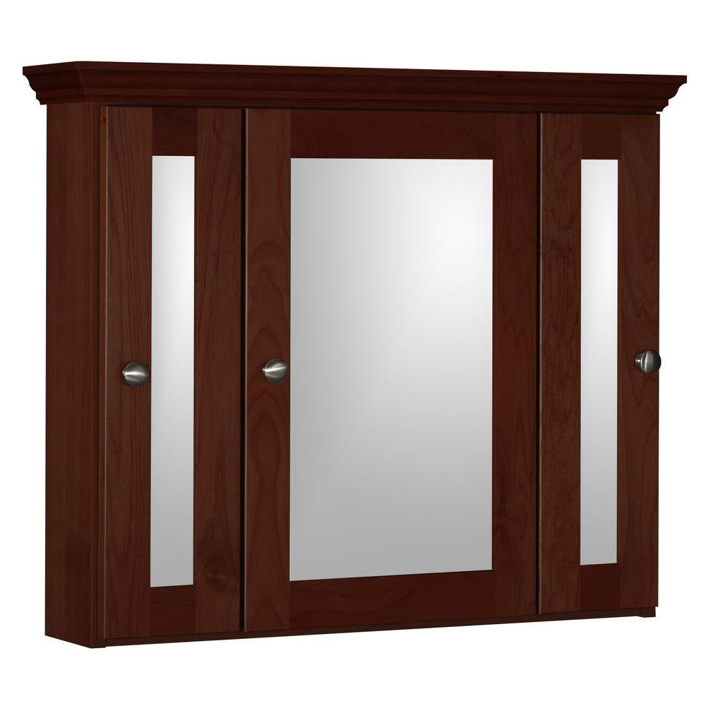 Shaker 30 in. W x 27 in. H x 6-1/2 in. D Framed Tri-View Surface-Mount Bathroom Medicine Cabinet in Dark Alder