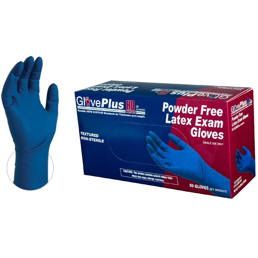 Heavy Duty Blue Latex Exam Powder Free Disposable Gloves (Box of 50)