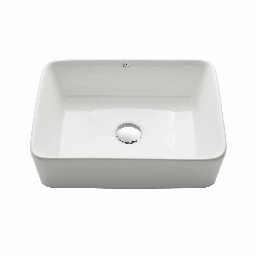 Rectangular Ceramic Vessel Bathroom Sink in White