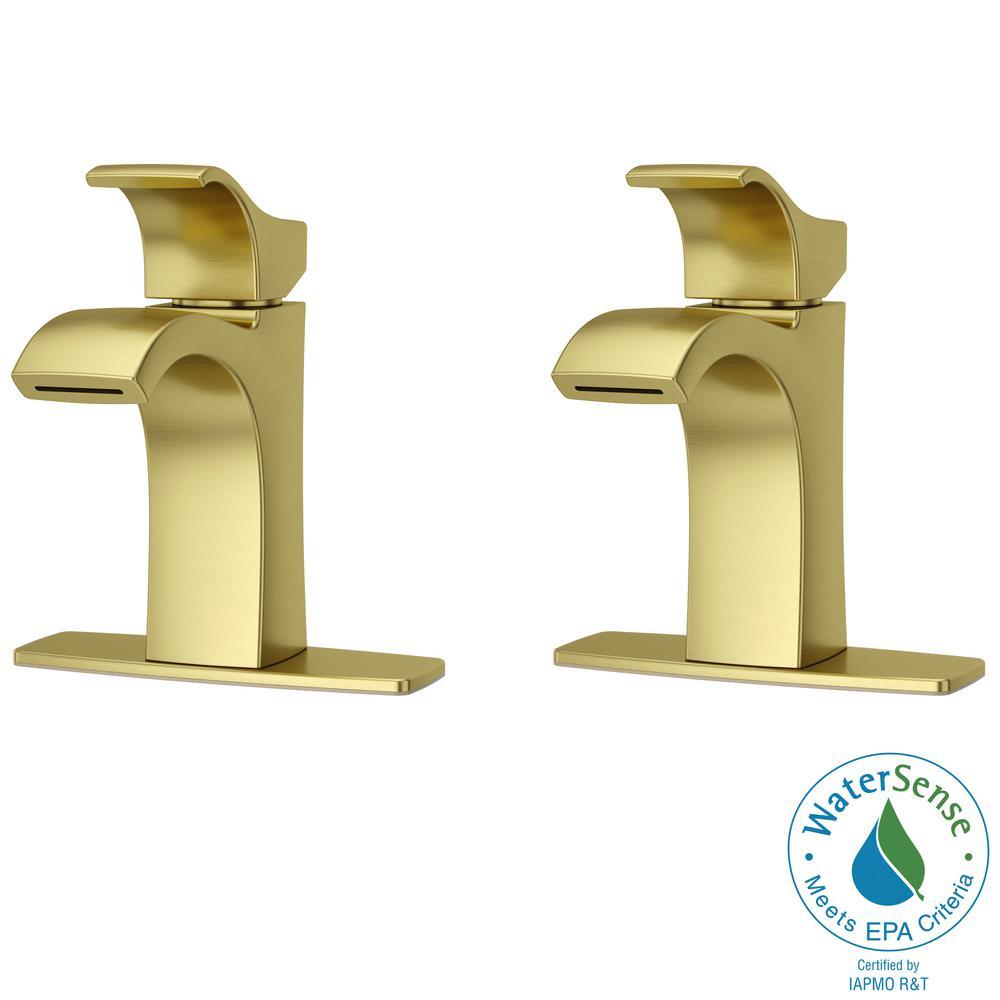 Venturi Single Hole Single-Handle Bathroom Faucet in Brushed Gold (2-Pack)