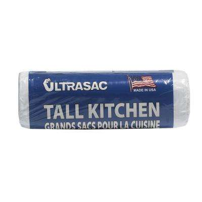 13 Gal. Tall Kitchen White Trash Bags Roll (18-Count)