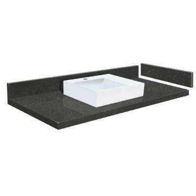 54.5 in. W x 22.25 in. D Quartz Vessel Vanity Top in Black Carrara with White Basin and Single Hole
