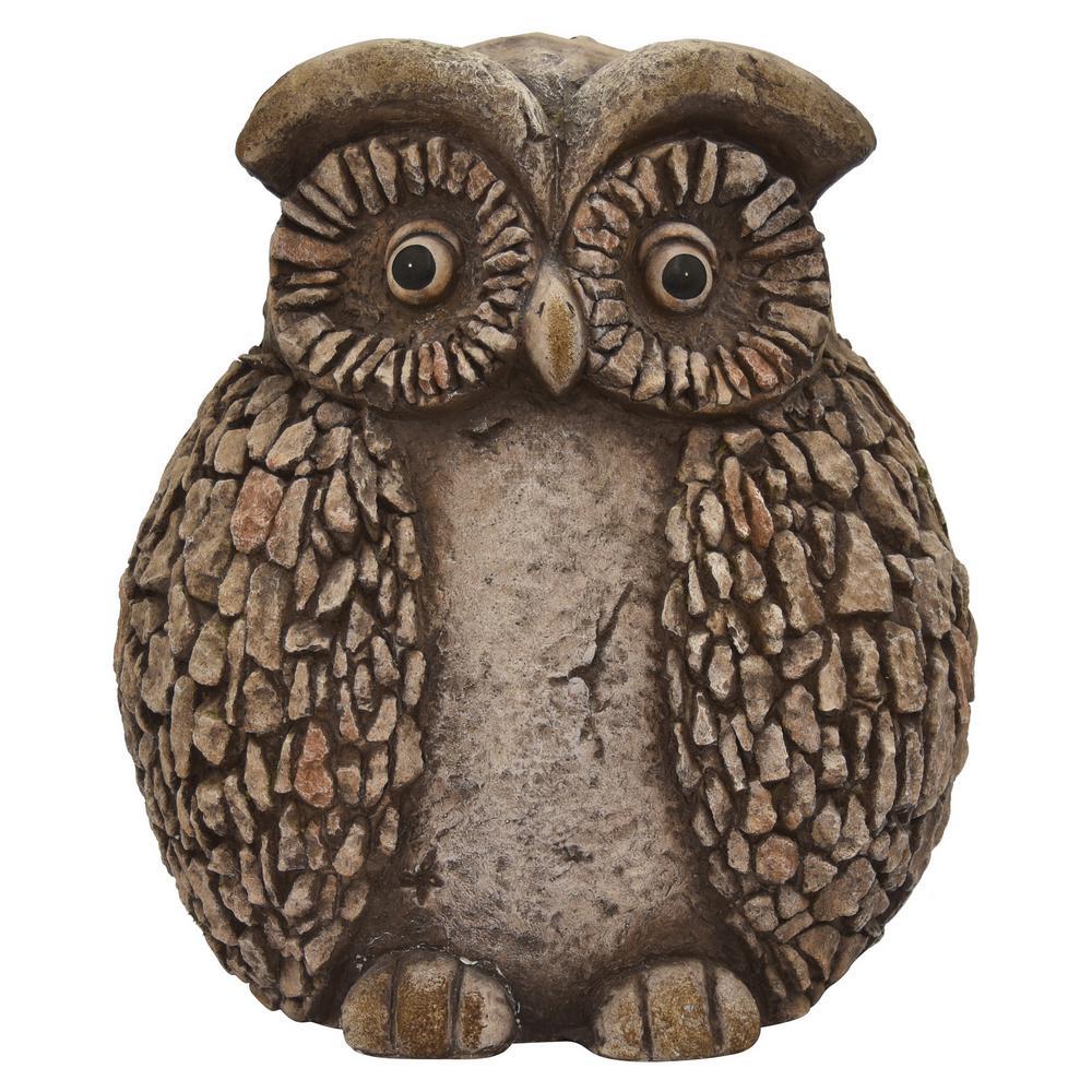 12 in. x 9 in. x 13 in. Garden Owl in Brown Resin/Magnesium