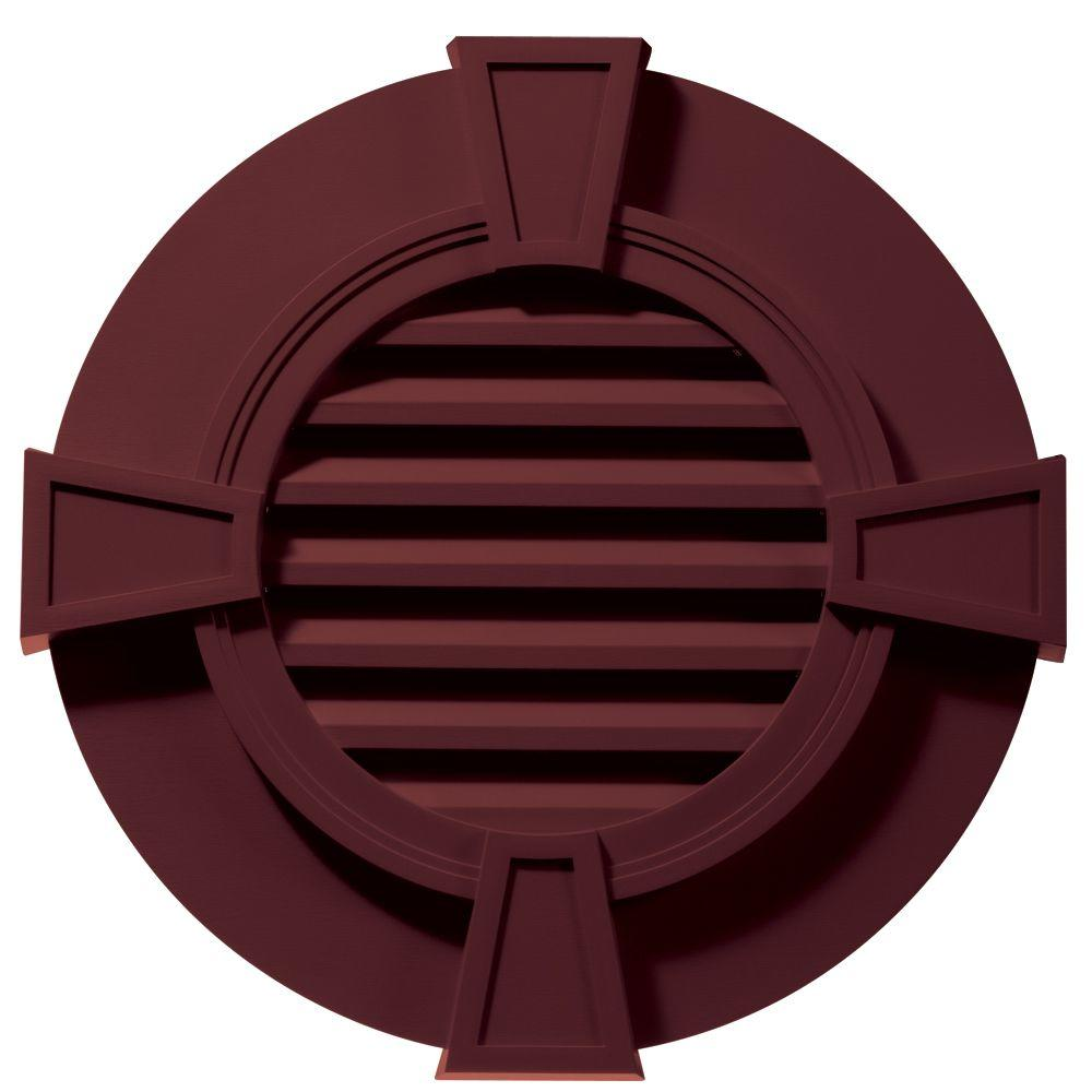 Builders edge 30 in round gable vent in wineberry with for Gable decorations home depot