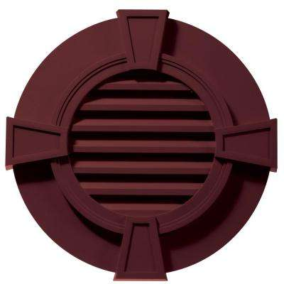 30 in. Round Gable Vent in Wineberry with Keystones