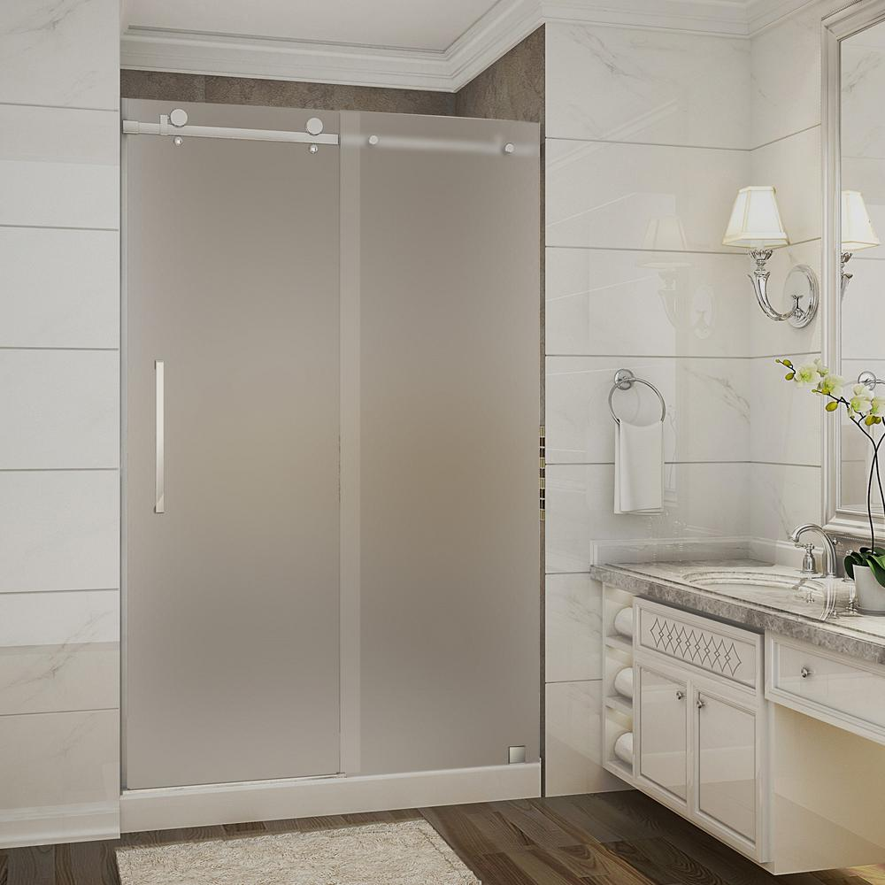 Aston Moselle 48 in. x 36 in. x 77.5 in. Frameless Sliding Shower Door with Frosted in Stainless Steel with Left Base