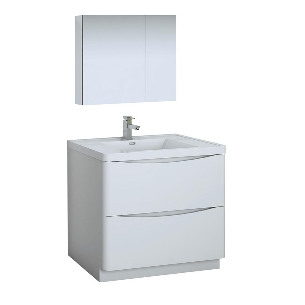 Tuscany 36 in. Modern Bathroom Vanity in Glossy White with Vanity Top in White with White Basin, Medicine Cabinet
