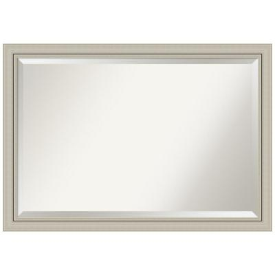 Romano 40 in. W x 28 in. H Framed Rectangular Beveled Edge Bathroom Vanity Mirror in Burnished Silver