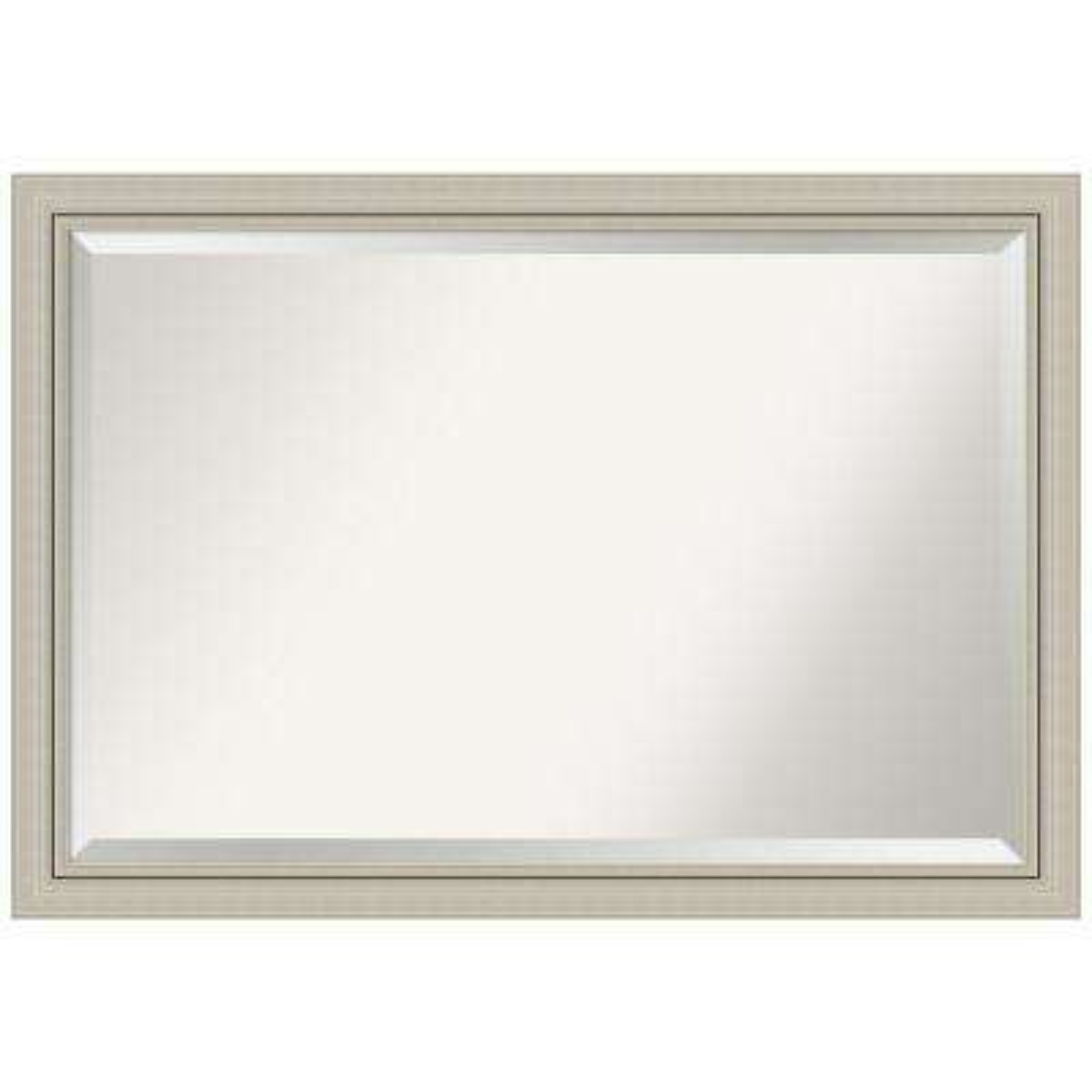 Romano Narrow Burnished Silver Wood 40 in. W x 28 in. H Single Contemporary Bathroom Vanity Mirror