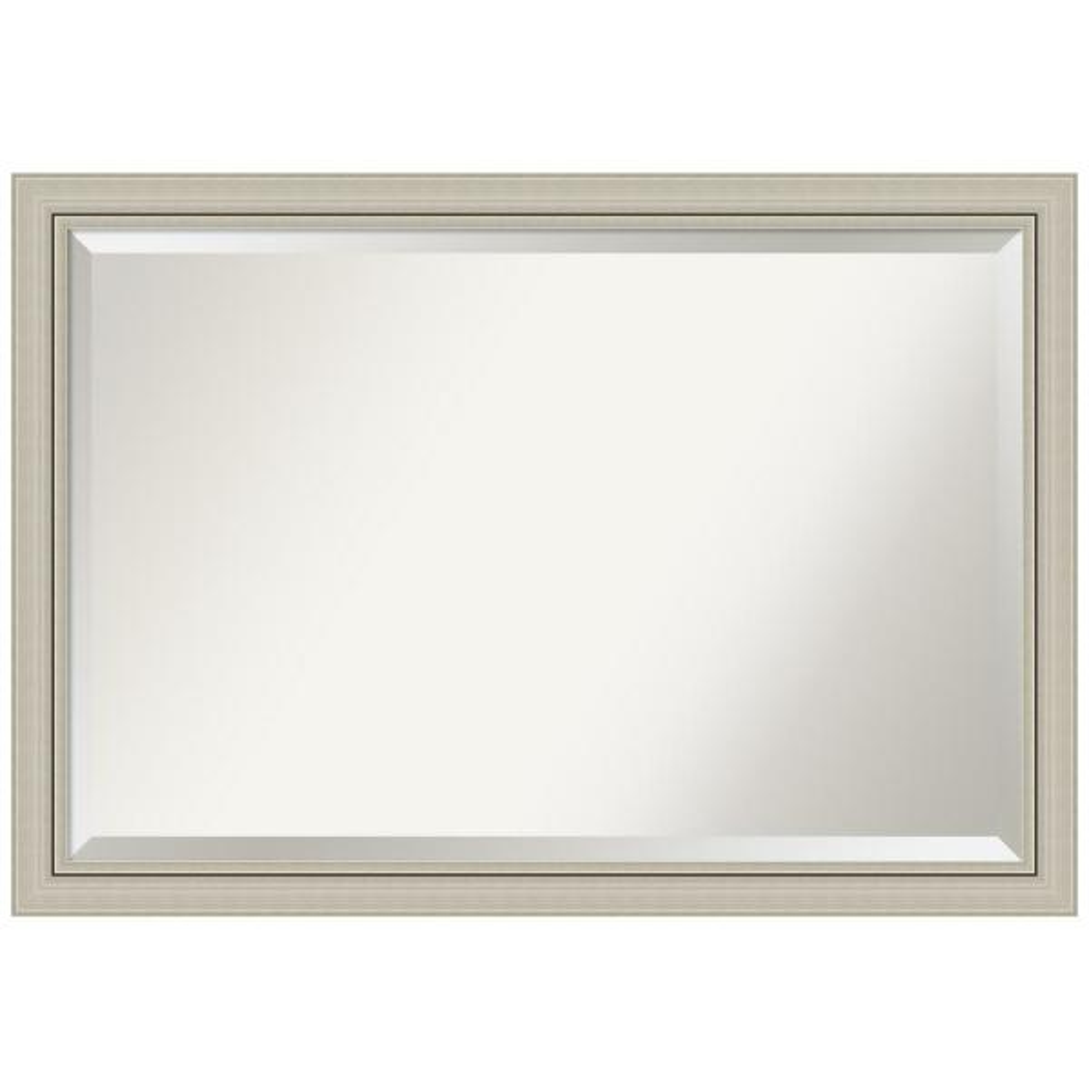 Romano 40 in. W x 28 in. H Framed Rectangular Beveled Edge Bathroom Vanity Mirror in Burnished Silver