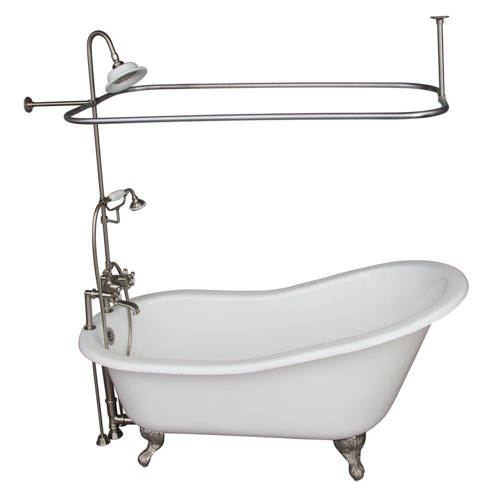 Barclay Products 5.6 ft. Cast Iron Ball and Claw Feet Slipper Tub in White with Brushed Nickel Accessories