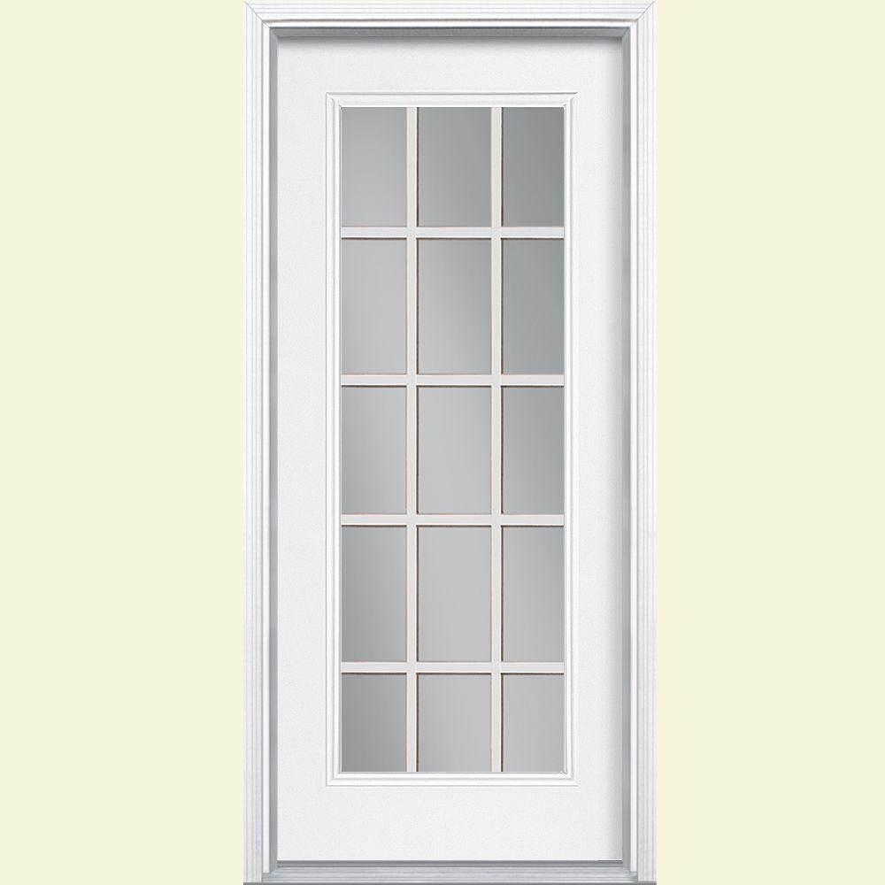 Masonite 32 in. x 80 in. 15 Lite Primed Steel Prehung Front Door with Brickmold