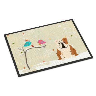 18 in. x 27 in. Indoor/Outdoor Christmas Presents between Friends English Bulldog Fawn White Door Mat