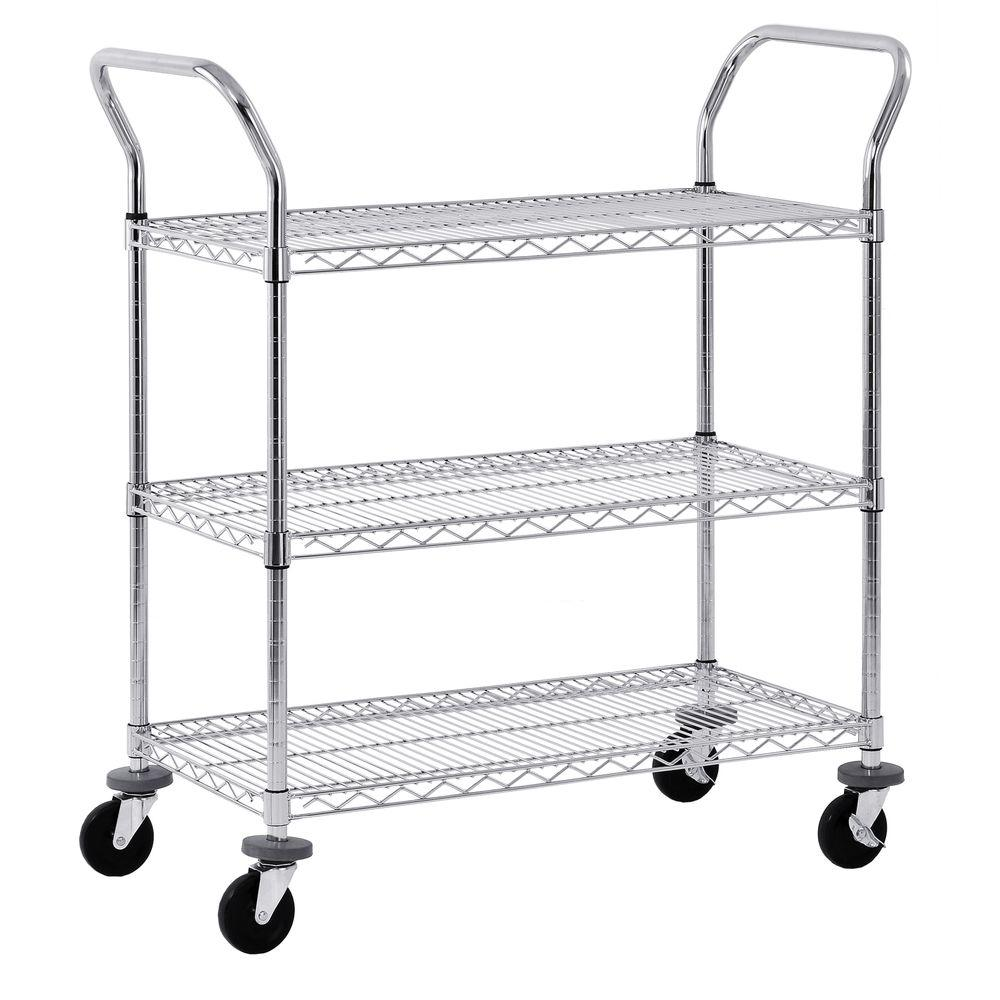 Sandusky 38 in. 3-Tier NSF Chrome Wire Cart-MWS482438 - The Home Depot